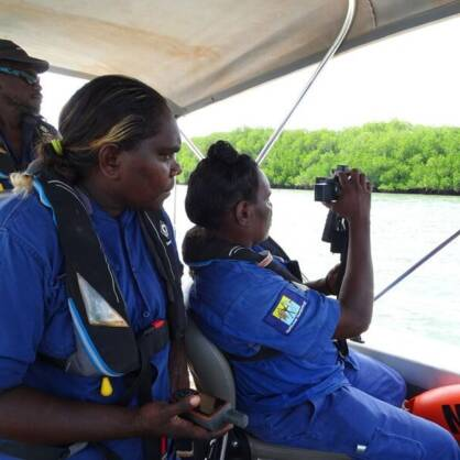 Numbulwar Rangers Shirley Wilfred and Eva Nungamadjbarr on Mangrove Watch Training